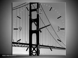 Wandklok op Glas Brug | Kleur: Grijs, Zwart, Wit | F001790CGD