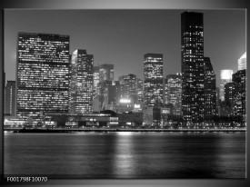 Glas schilderij Stad | Grijs, Zwart, Wit