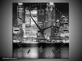 Wandklok op Glas New York | Kleur: Grijs, Zwart, Wit | F001804CGD