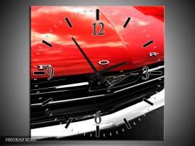 Wandklok op Canvas Ford   Kleur: Rood, Zwart   F001826C