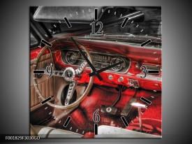 Wandklok op Glas Mustang | Kleur: Rood, Zwart | F001829CGD