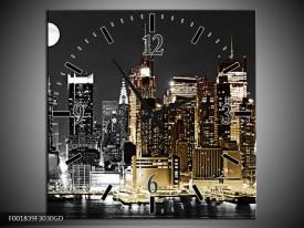 Wandklok op Glas New York | Kleur: Zwart, Wit, Geel | F001839CGD
