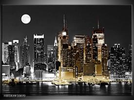 Glas schilderij New York   Zwart, Wit, Geel