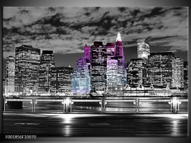 Glas schilderij New York | Zwart, Wit, Paars