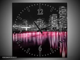 Wandklok op Glas New York | Kleur: Zwart, Wit, Roze | F001860CGD
