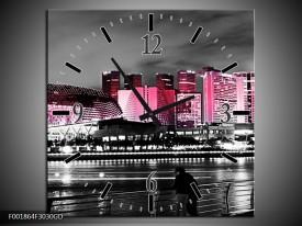 Wandklok op Glas Stad | Kleur: Zwart, Wit, Roze | F001864CGD