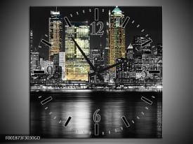 Wandklok op Glas New York   Kleur: Zwart, Wit, Geel   F001873CGD
