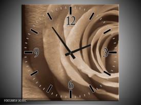 Wandklok op Canvas Roos | Kleur: Sepia, Bruin | F001885C