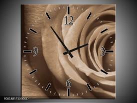 Wandklok op Glas Roos   Kleur: Sepia, Bruin   F001885CGD