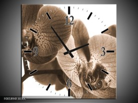 Wandklok op Canvas Orchidee | Kleur: Sepia | F001894C