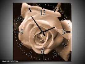 Wandklok op Glas Roos | Kleur: Sepia, Bruin | F001897CGD
