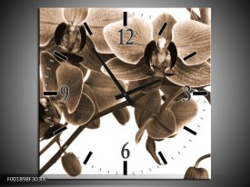 Wandklok op Canvas Orchidee | Kleur: Sepia, Bruin | F001898C