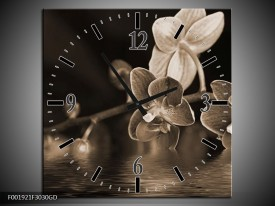 Wandklok op Glas Orchidee   Kleur: Sepia, Bruin   F001921CGD