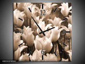 Wandklok op Canvas Tulpen   Kleur: Sepia, Bruin   F001922C