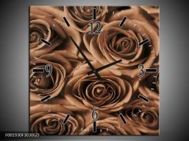 Wandklok op Glas Roos | Kleur: Sepia, Bruin | F001930CGD