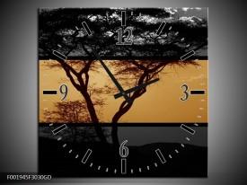 Wandklok op Glas Boom   Kleur: Sepia, Bruin   F001945CGD
