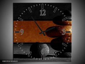 Wandklok op Glas Stenen   Kleur: Sepia, Bruin   F001955CGD