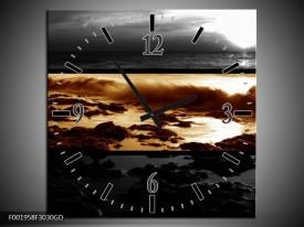 Wandklok op Glas Zonsondergang | Kleur: Sepia, Bruin | F001958CGD