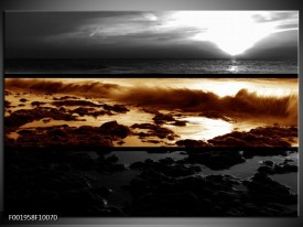 Glas schilderij Zonsondergang   Sepia, Bruin