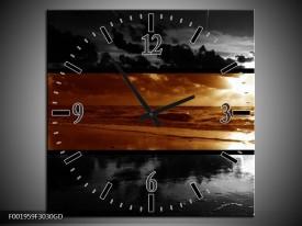 Wandklok op Glas Zee | Kleur: Sepia, Bruin | F001959CGD