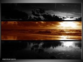 Glas schilderij Zee | Sepia, Bruin