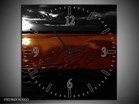 Wandklok op Glas Zee | Kleur: Sepia, Bruin | F001960CGD