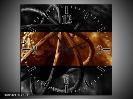 Wandklok op Glas Wereld | Kleur: Sepia, Bruin | F001965CGD