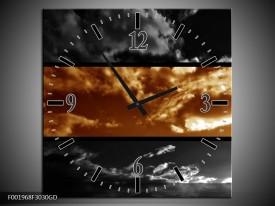 Wandklok op Glas Natuur | Kleur: Sepia, Bruin | F001968CGD