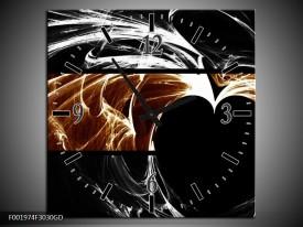 Wandklok op Glas Hart | Kleur: Sepia, Bruin | F001974CGD