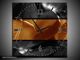 Wandklok op Glas Tulpen | Kleur: Sepia, Bruin | F001976CGD