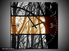 Wandklok op Glas Natuur | Kleur: Sepia, Bruin | F001984CGD