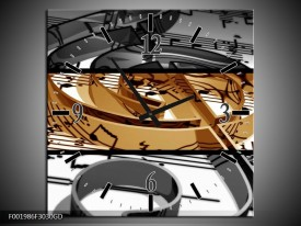 Wandklok op Glas Muziek | Kleur: Sepia, Bruin | F001986CGD