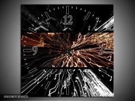 Wandklok op Glas Abstract | Kleur: Sepia, Bruin | F001987CGD