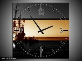 Wandklok op Glas Boot | Kleur: Sepia, Bruin | F001995CGD
