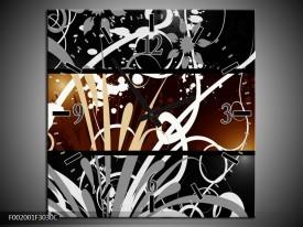 Wandklok op Canvas Abstract | Kleur: Sepia, Bruin | F002001C