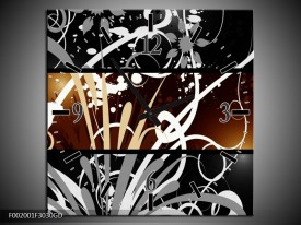 Wandklok op Glas Abstract | Kleur: Sepia, Bruin | F002001CGD