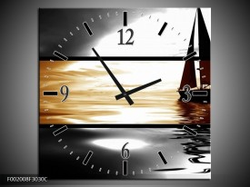 Wandklok op Canvas Boot | Kleur: Sepia, Bruin | F002008C