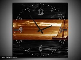 Wandklok op Glas Boot | Kleur: Sepia, Bruin | F002009CGD