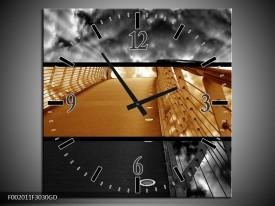 Wandklok op Glas Brug | Kleur: Sepia, Bruin | F002011CGD