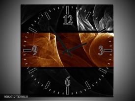 Wandklok op Glas Abstract | Kleur: Sepia, Bruin | F002012CGD