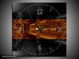 Wandklok op Glas Abstract | Kleur: Sepia, Bruin | F002024CGD