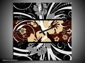Wandklok op Glas Abstract | Kleur: Sepia, Bruin | F002025CGD