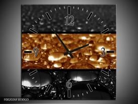 Wandklok op Glas Druppels   Kleur: Sepia, Bruin   F002026CGD
