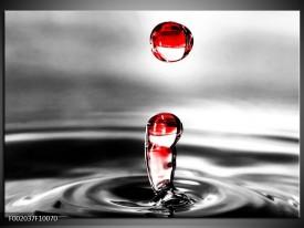 Glas schilderij Druppels | Zwart, Wit, Rood