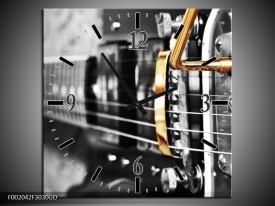 Wandklok op Glas Gitaar | Kleur: Zwart, Grijs, Geel | F002042CGD