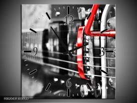 Wandklok op Glas Gitaar | Kleur: Zwart, Grijs, Rood | F002043CGD