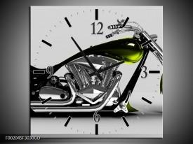 Wandklok op Glas Motor | Kleur: Grijs, Zwart, Groen | F002045CGD