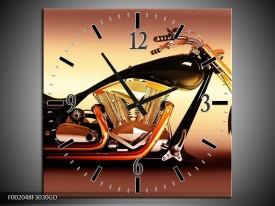 Wandklok op Glas Motor | Kleur: Oranje, Bruin, Geel | F002048CGD