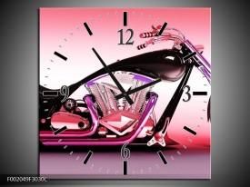 Wandklok op Canvas Motor | Kleur: Paars, Roze, Zwart | F002049C