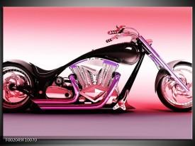 Glas schilderij Motor | Paars, Roze, Zwart